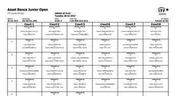 ASSET BANCA Junior Open: il programma di martedì 28.