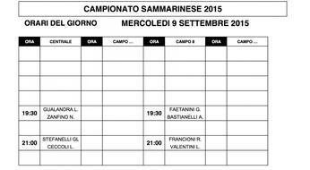Campionati Sammarinesi 2015: gli orari di gioco di MERCOLEDI' 9.