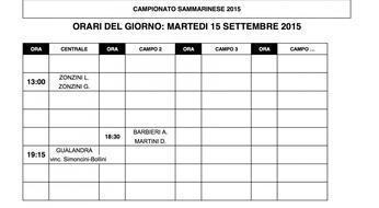 Campionati Sammarinesi 2015: gli orari di gioco di MARTEDI' 15.