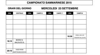 Campionati Sammarinesi 2015: gli orari di gioco di MERCOLEDI' 23.