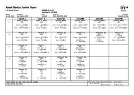 ASSET BANCA Junior Open 2016 - Programma Lunedì 25