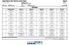 ASSET BANCA Junior Open. Order of Play - wednesday. REVISED.