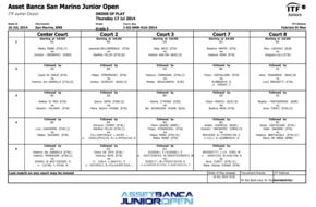 ASSET BANCA Junior Open. Order of play - Thursday.