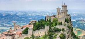 July in hotel in Rimini beach sea and excursion to San Marino