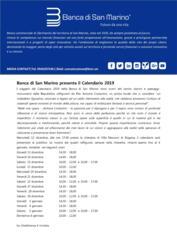 Banca di San Marino presenta il Calendario 2019
