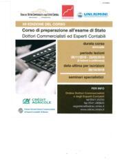 26/10/18 terminano le iscrizioni al Corso di Preparazione all'esame di Stato Dottori Commercialisti