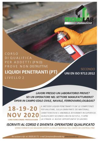 Corso di Qualifica per Addetti (PND) Liquidi Penetranti (PT) UNI EN ISO 9712:2012