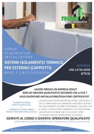 Corso di Qualifica Installatore sistemi di isolamento termico per esterno secondo UNI 11716:2018