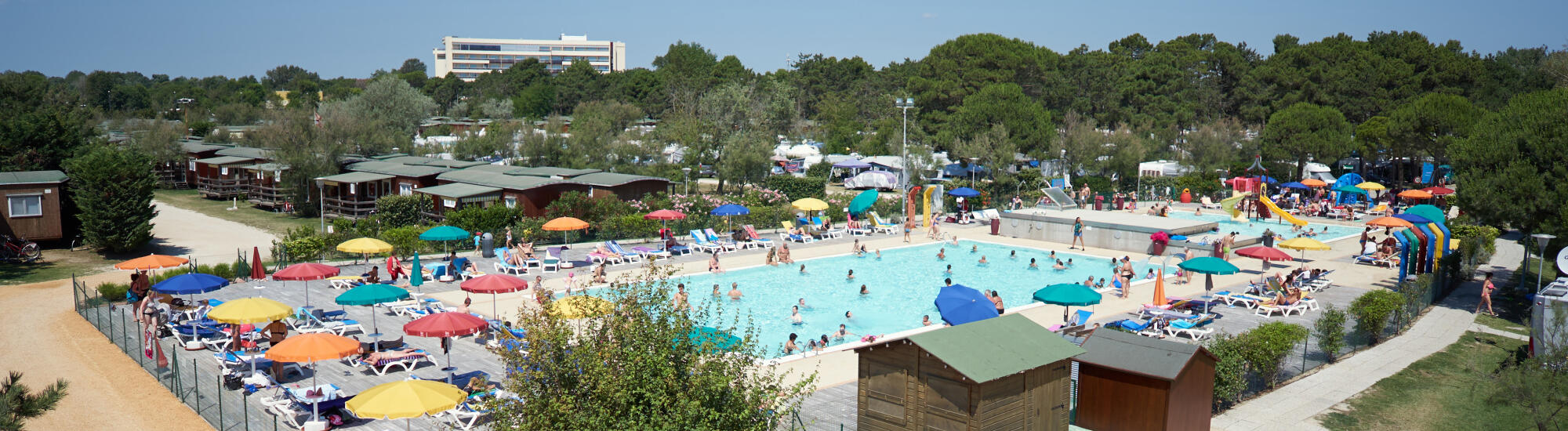 July in Bibione in a mobile home or glamping tent in a seaside camping village