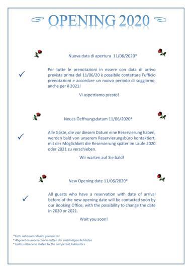 NUOVA DATA DI APERTURA - NEUES ÖFFNUNGDATUM - NEW OPENING DATE -