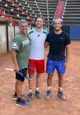 L'azzurro Andreas Seppi si allena alla Galimberti Tennis Academy con Federico Bertuccioli