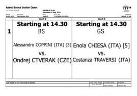ASSET BANCA Junior Open: il programma dell'ultima giornata.