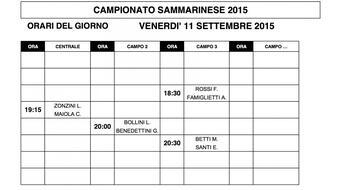 Campionati Sammarinesi 2015: gli orari di gioco di VENERDI' 11.