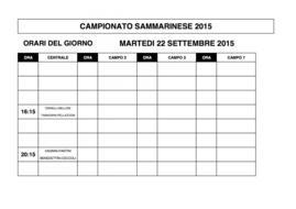 Campionati Sammarinesi 2015: gli orari di gioco di MARTEDI' 22.