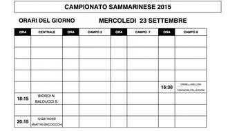 Campionati Sammarinesi 2015: gli orari di gioco di MERCOLEDI' 30.