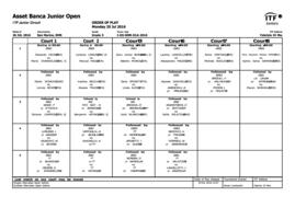 ASSET BANCA Junior Open 2016 - Order of Play Monday 25
