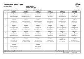 ASSET BANCA Junior Open 2016 - Order of Play Tuesday, 26