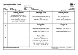 San Marino Junior Open: order of play - Friday 28.