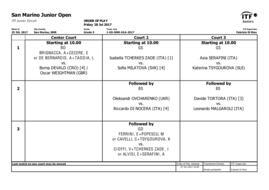 San Marino Junior Open: il programma di venerdì 28.