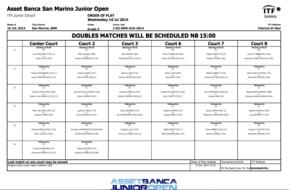 Order of Play. Day 3 (wednesday).
