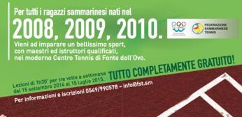 Corsi di tennis gratuiti per i giovanissimi sammarinesi.