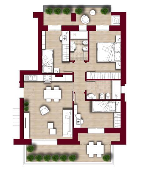 TIPOLOGIA D9 piano terzo attico