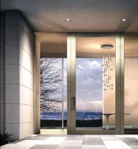 NOVA, la porta blindata Oikos su facciata in vetro.