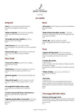 Il nuovo menù d'Autunno del Ristorante Paolo Teverini