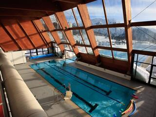 Inside of the pool of Sestriere with a panoramic view
