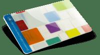 <b>Support</b>: Transparent PVC 0,76mm <b>Lamination</b>: Glossy <b>Effect</b>: Silver Silkscreen background + white ink