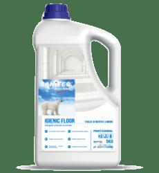 IGIENIC FLOOR con igenizzante manutentore Detergente universale sgrassante concentrato con azione igienizzante e deodorante attivo su qualsiasi tipo di sporco. Lascia le superficibrillanti e non necessita di risciacquo. Ideale per le pulizie generali di manutenzione quotidiana.  Campo d'impiego:  tutti i pavimenti e le superfici lvabili. Dosaggio: 2% - 4% a mano o con lavasciuga. ca. 2-3 tappi per 5 litri d'acqua.