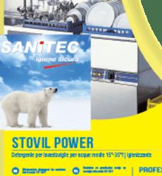 STOVIL POWER detergente igenizzante acque medie e dolci Detergente alcalino igienizzante per lavastoviglie industriali con sistema di dosaggio automatico