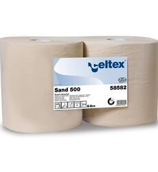 Sand 500  Codice 58582 Riciclata Veli: 3 H: 26,5 cm n° strappi: 500 L strappo: 38 cm ø anima: 7,2 cm ø rotolo: 28 cm Qt. collo: 2 rotoli Pallet: 54 colli