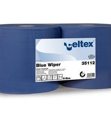 Blue wiper  Codice 35112 Cellulosa blu Veli: 2 H: 24 cm n° strappi: 970 L strappo: 30 cm ø anima: 7,2 cm ø rotolo: 28 cm Qt. collo: 2 rotoli Pallet: 60 colli