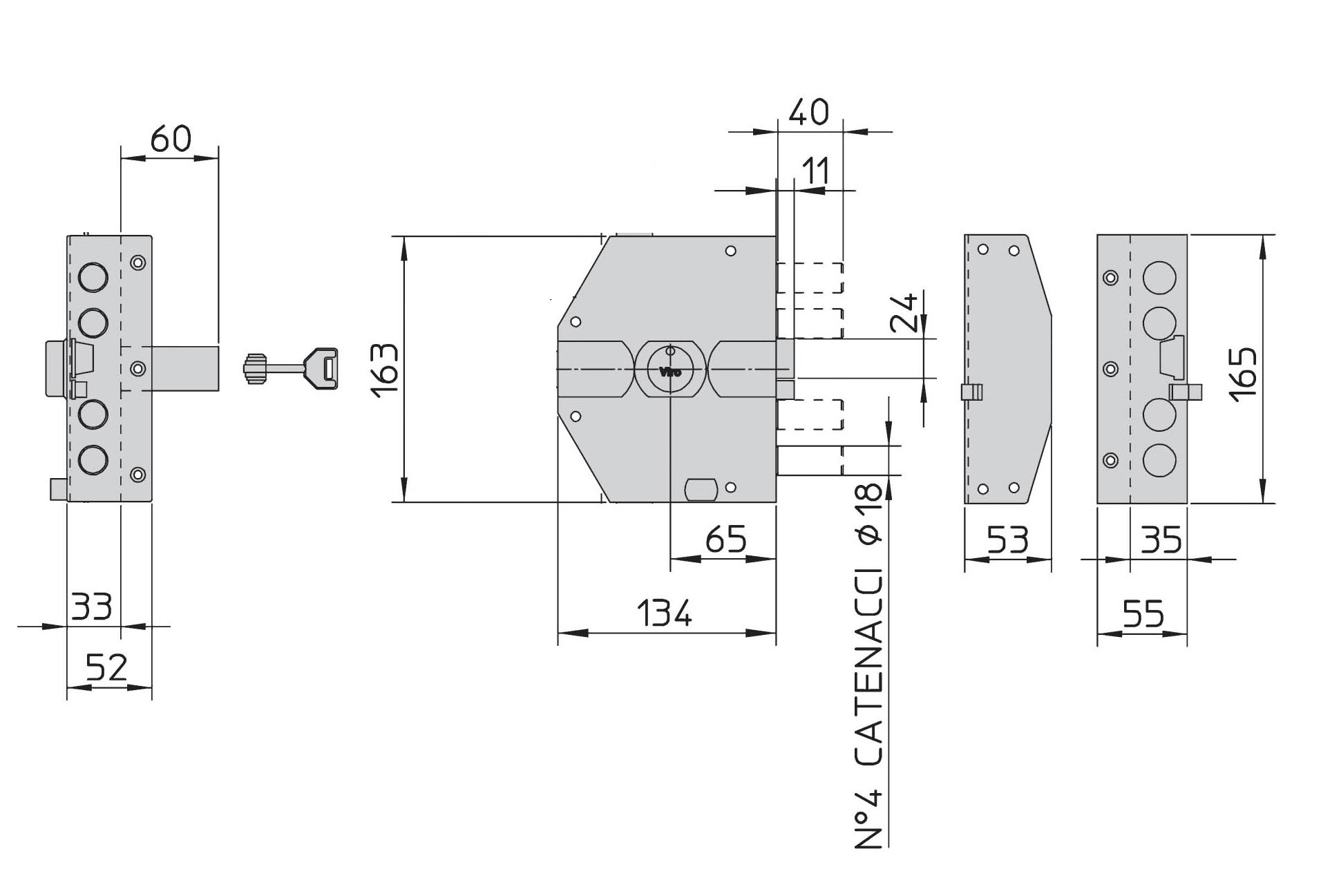 Serratura di sicurezza elettrica cilindro a pompa Serie V85 7943.1 VIRO