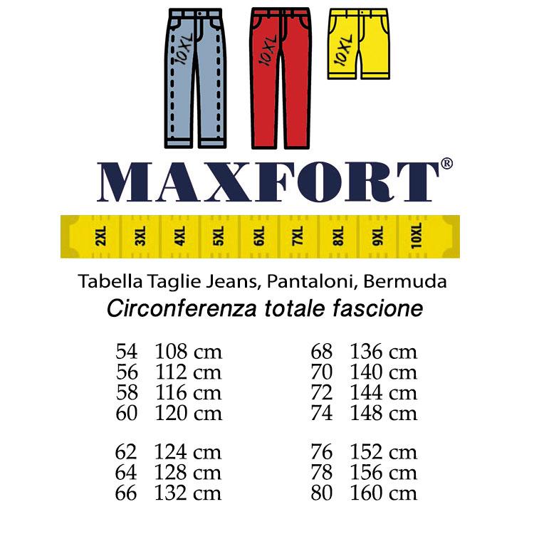 DA 56 A 86 PANTALONE MAXFORT UOMO 58 60 62 64 66 68 70 72 74 76 78 TAGLIE FORTI