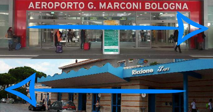 shuttle bus dalla stazione ferroviaria di Riccione all'aeroporto di Bologna