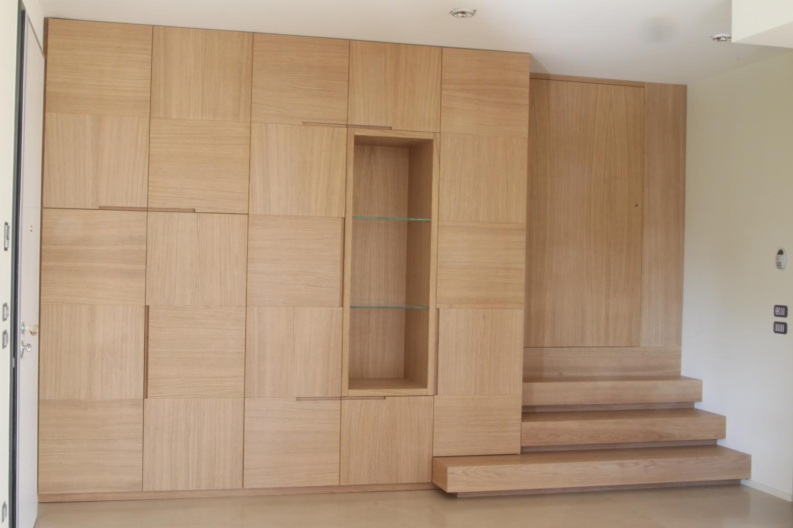Armadio soggiorno moderno in legno di rovere spazzolato a for Armadio da soggiorno