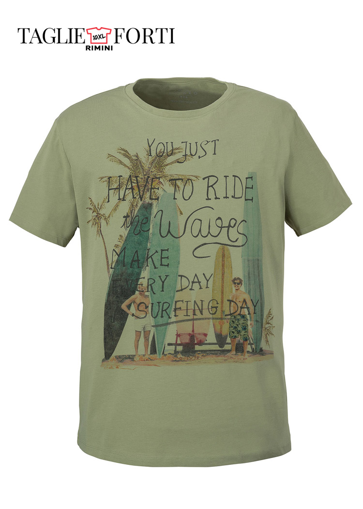 low priced ada82 d1aaf Kitaro maglia t-shirt uomo taglie forti articolo 192112 verde