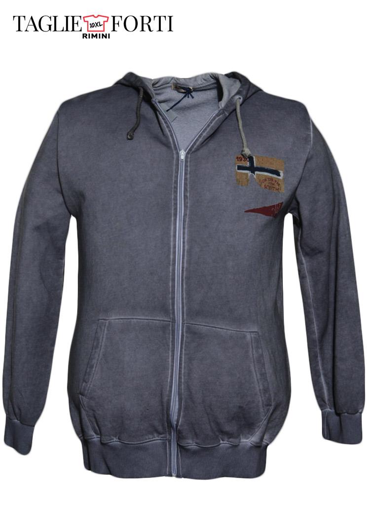 quite nice be807 fc6ff giacca felpa zip taglie forti uomo Maxfort articolo 30107 grigio