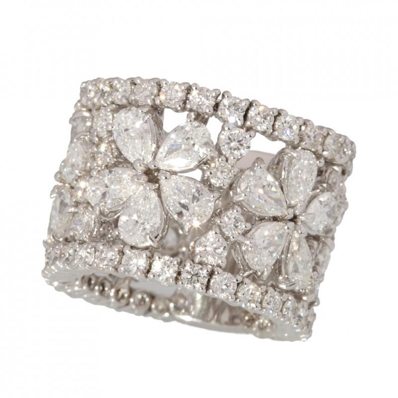 Amato Anello Fascia con diamanti motivo a fiori Roma, vendita Anello  PU69