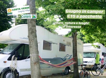 June camping offer with seaside pitch in Porto Potenza Picena