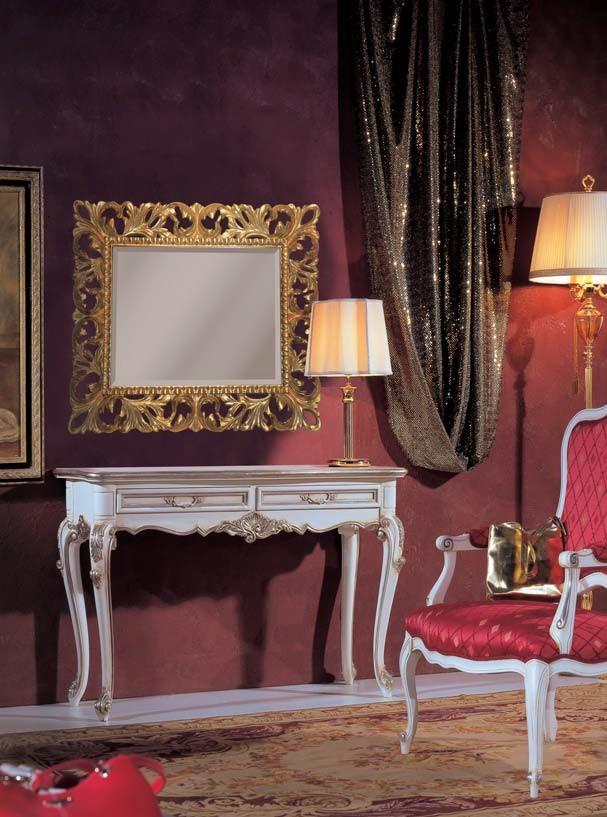 Consolle in stile Barocco laccata bianco anticato con profili in ...