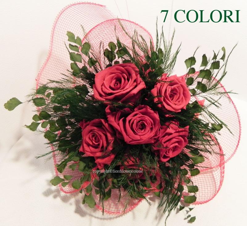 Fiori Stabilizzati.Bouquet 6 Rose Stabilizzate Fior Di Loto Riccione
