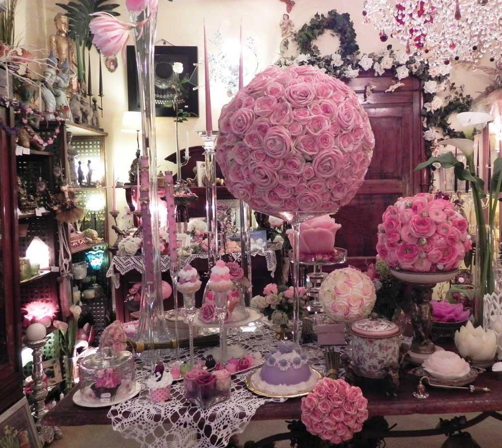 Sfera di rose gigante coroncine e sfere di fiori fiori - Centrotavola natalizi con fiori finti ...