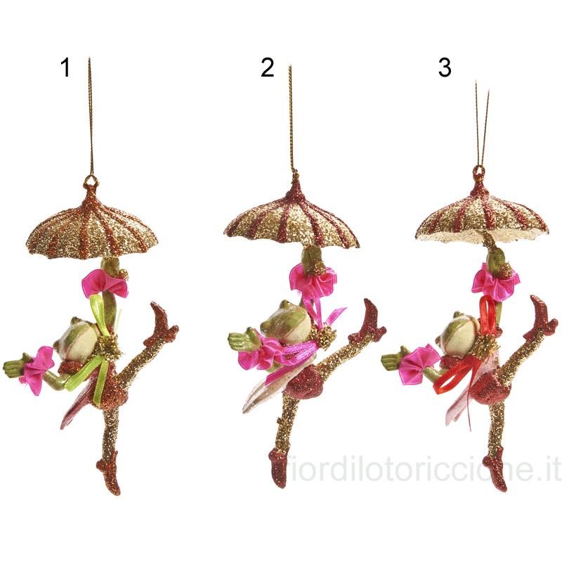 Decorazione rane con ombrello fior di loto riccione - Decorazioni di carta per albero di natale ...