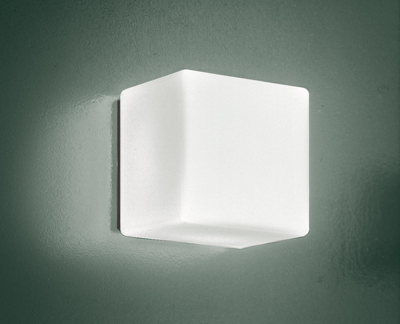 Cubi p pl lampada da parete o soffitto in vetro bianco di leucos