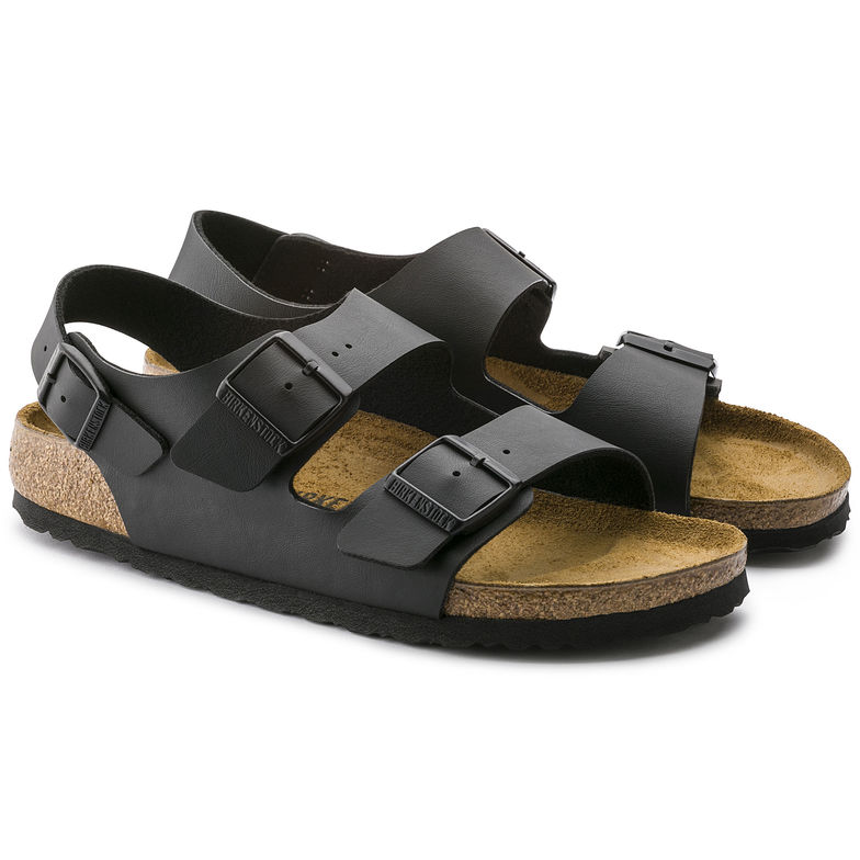 30666bdfd820 BIRKENSTOCK MILANO MEN SANDALS TRIPLA BUCKLE BLACK