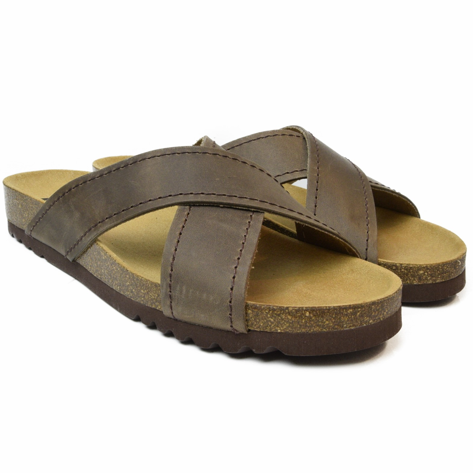 b02ad43a8 DR. SCHOLL WOMEN S CROSSED FLIP FLOPS SOFT LEATHER TANGOR DARK BROWN ...