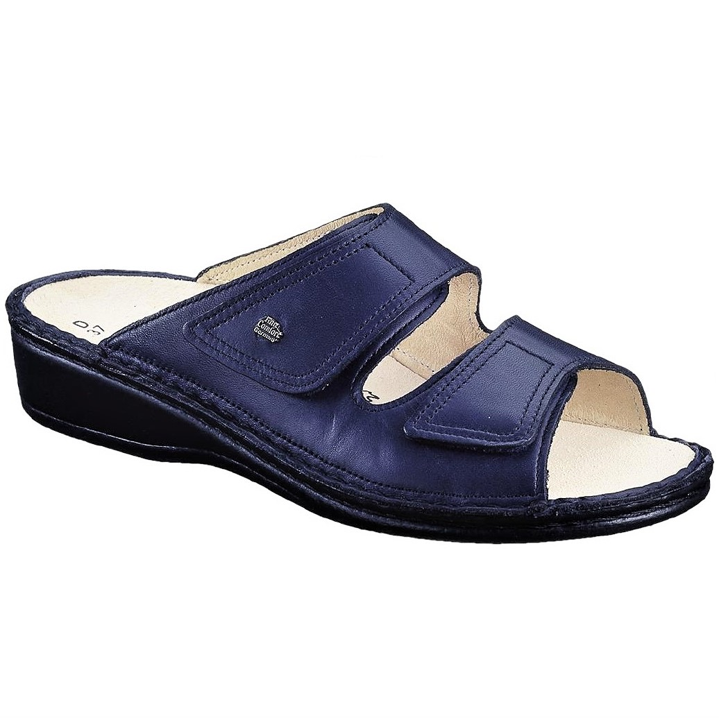 Comfort Jamaika Scuro Pelle Finn Ciabatta Donna Vera Darkblue Blu DHEW29IY